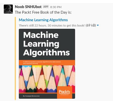 Noob SNHUbot listing the Packt FBOTD